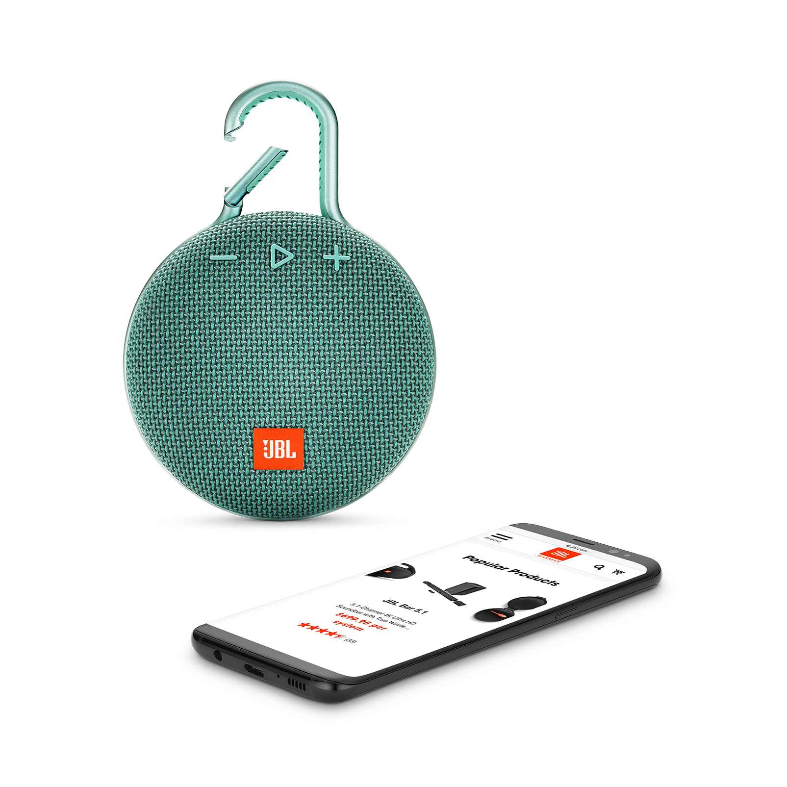JBL CLIP 3 - River Teal - Portable Bluetooth® speaker - Detailshot 1