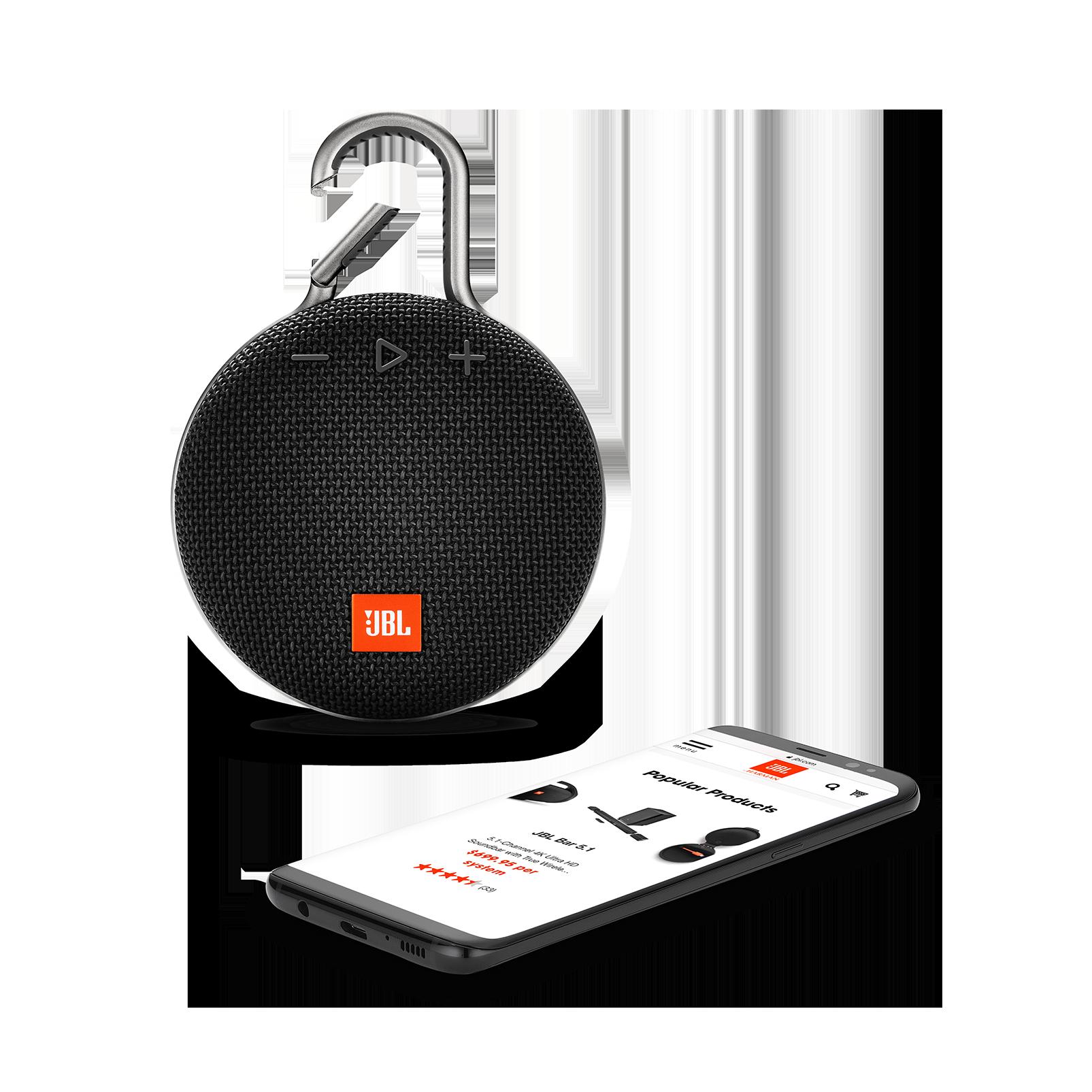 JBL CLIP 3 - Midnight Black - Portable Bluetooth® speaker - Detailshot 1