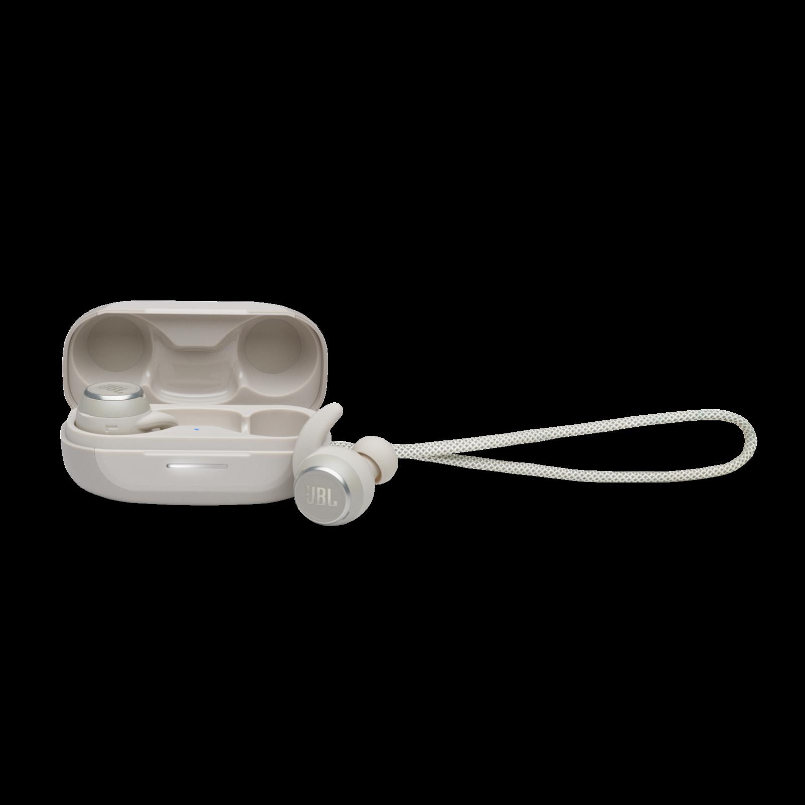 JBL Reflect Mini NC - White - Waterproof True Wireless In-Ear NC Sport Headphones - Hero